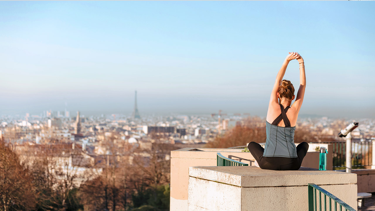 yoga on a rooftop
